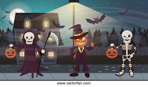 halloween dark scene with group of disguised people
