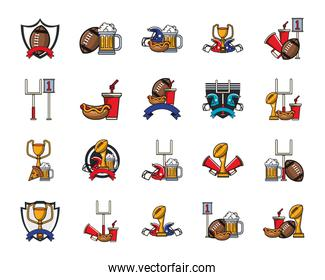 bundle of food and sports set icons