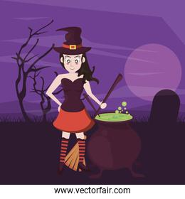 halloween dark scene with person costume of witch