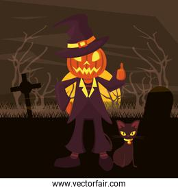 halloween dark scene with person costume of pumpkin