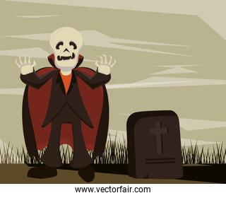 halloween dark scene with person and costume dracula