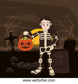 halloween dark scene with person disguised of skeleton