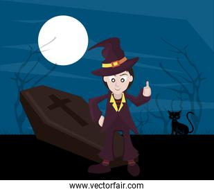 halloween dark scene with man disguised of witch