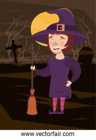 halloween dark scene with woman disguised witch