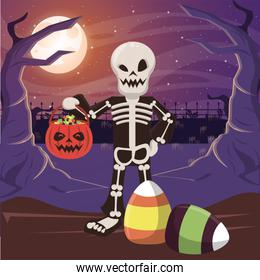 halloween dark scene with person disguised skeleton
