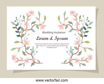 wedding invitation card with branches and flowers decoration