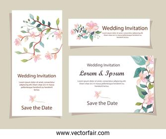 set of wedding invitation cards with flowers decoration