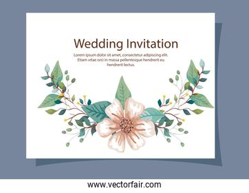wedding invitation card with branches and flower decoration