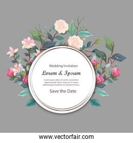 wedding invitation card circular with flowers and leaves