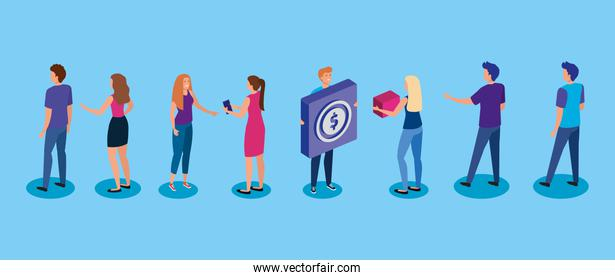 meeting young people and button with coin