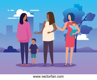 mothers with sons in park nature characters