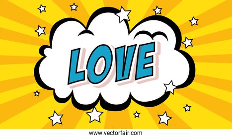 cloud with love lettering pop art style icon