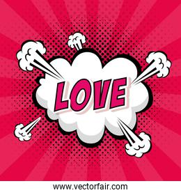 cloud explosion with love lettering pop art style icon