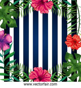 frame of flowers with branches and leafs in background stripes