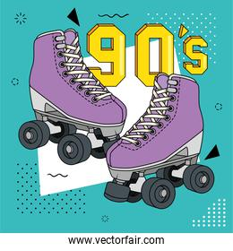 roller skates of nineties retro isolated icon