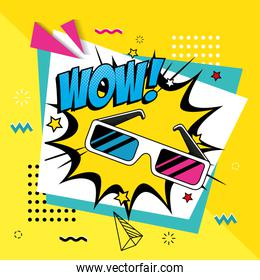 eyeglasses of nineties with wow expression