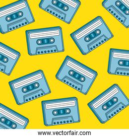 background of cassettes of nineties retro style