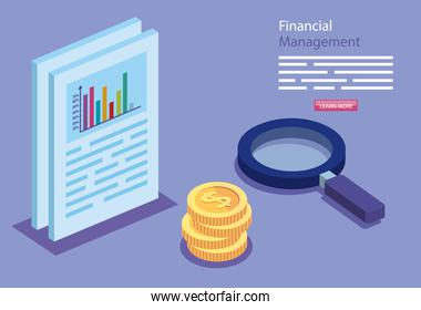 financial management with document and icons