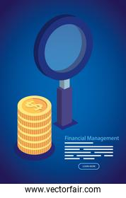 financial management with magnifying glass and pile coins