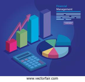 financial management with infographic and icons