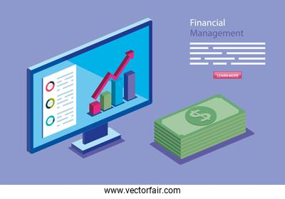 financial management with computer and stack bills