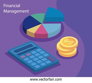 financial management with calculator and icons