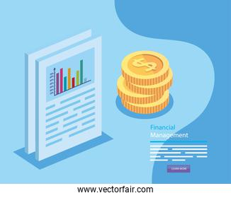 financial management with document and pile coins