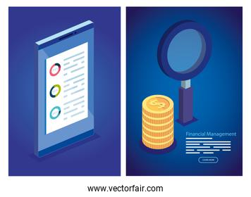set poster of financial management with icons