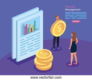 financial management with business people and icons
