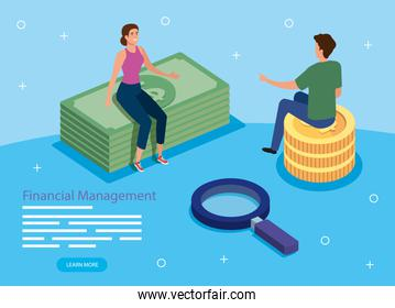 financial management with couple and icons