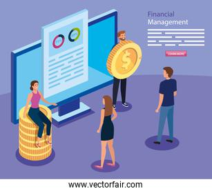 financial management with computer and business people