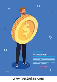 financial management with man and coin
