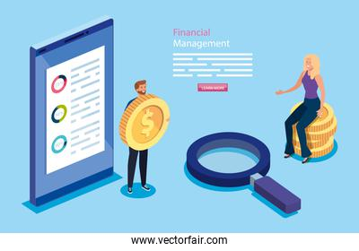 financial management with business couple and icons