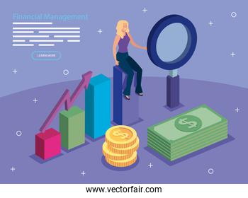 financial management with woman and icons