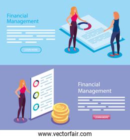 set poster of financial management with people and icons