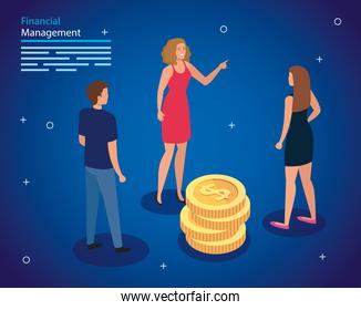 financial management with people and pile coins