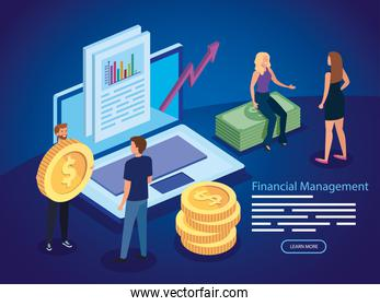 financial management with people and icons