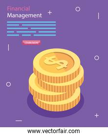 financial management with pile coins