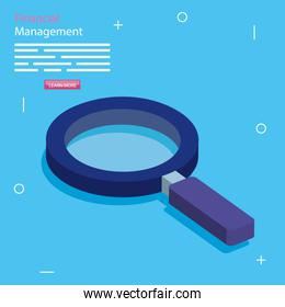 financial management with magnifying glass