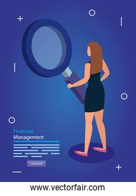 financial management with woman and magnifying glass