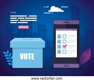 poster of vote with ballot box and smartphone