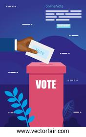 poster of online vote with hand and ballot box