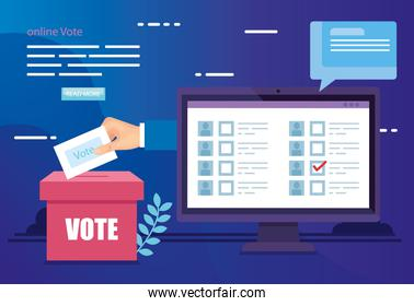 poster of online vote with computer and ballot box