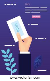 poster of vote with hand and vote form