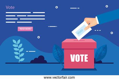 poster of vote with hand and ballot box