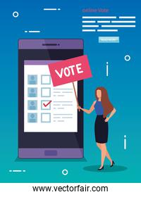poster of online vote with smartphone and woman