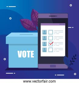 smartphone for vote online with ballot box