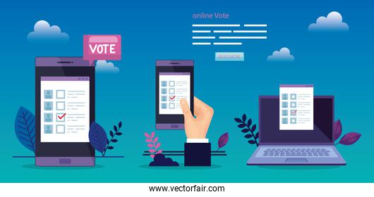 poster of vote with hand and devices electronics