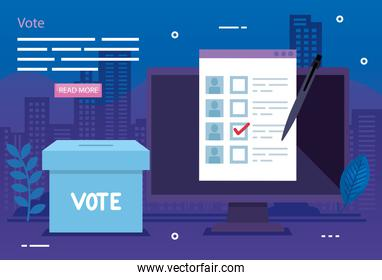 poster of vote with computer and ballot box