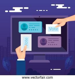 hands with computer for vote online isolated icon